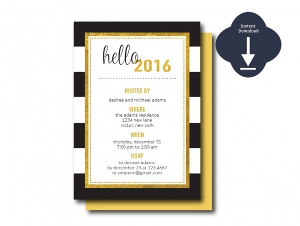 Printable Gold And Black Hello 2016 New Year's Invitation Template