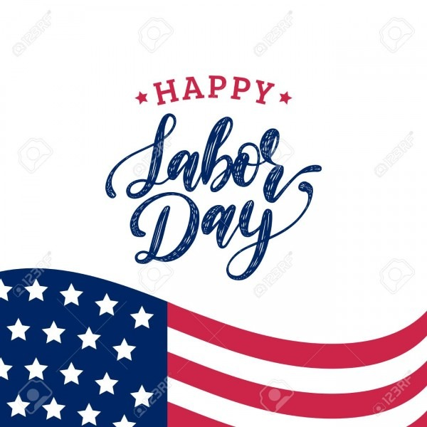 Vector Labor Day Greeting Or Invitation Card  American Holiday