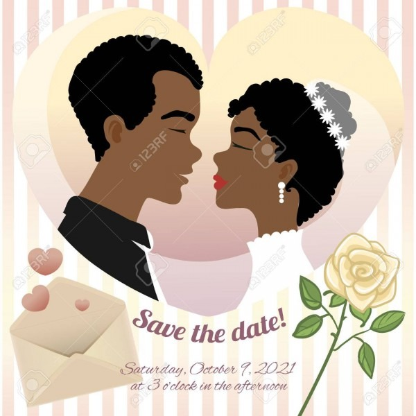 Invitation Card For Wedding With Young African American Couple
