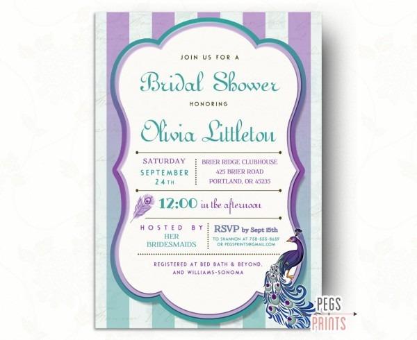 Peacock Bridal Shower Invitation    Printable Peacock Bridal