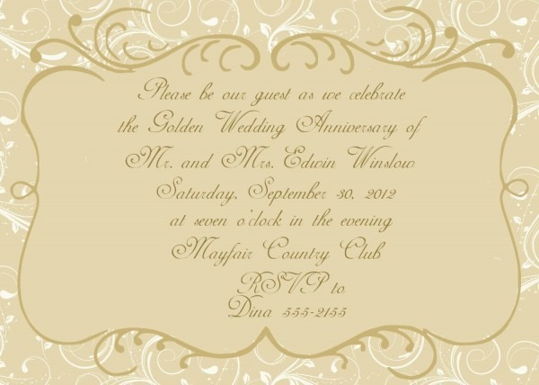 Golden Wedding Anniversary Invitations   Golden Wedding