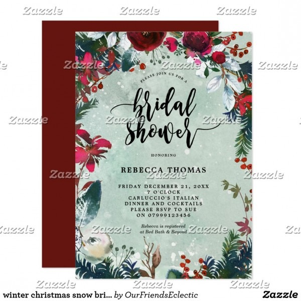 Winter Christmas Snow Bridal Shower Invitation