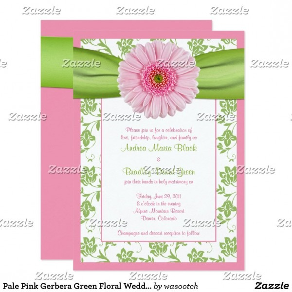 Pale Pink Gerbera Green Floral Wedding Invitation
