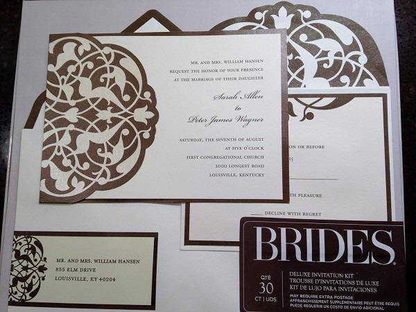 Amazon Com  Brides Diy Wedding Invitation Kit Brown Ivory  Home