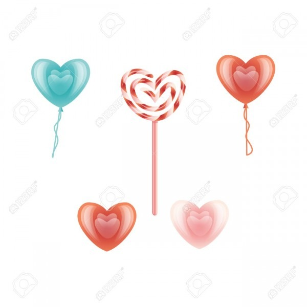Vector Happy Valentines Day Heart Icon Set  Red, Blue Air Balloon