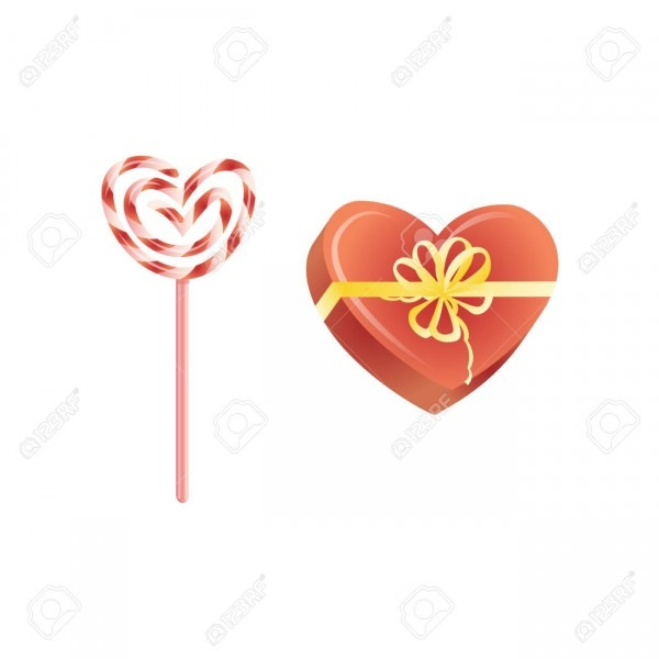 Vector Happy Valentines Day Heart Symbols Set  Candy Lollipop