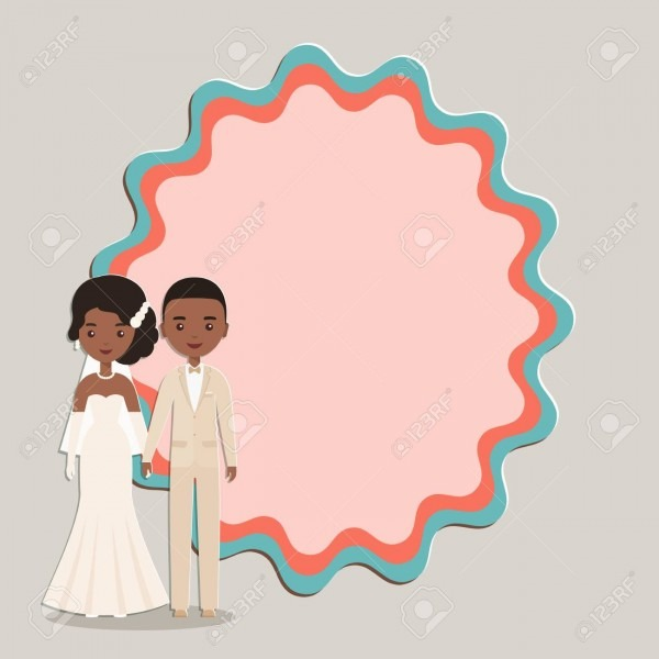 Cartoon Black, African American Groom, Bride With Space For Text