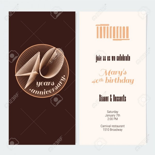 40 Years Anniversary Invitation Vector Illustration  Graphic