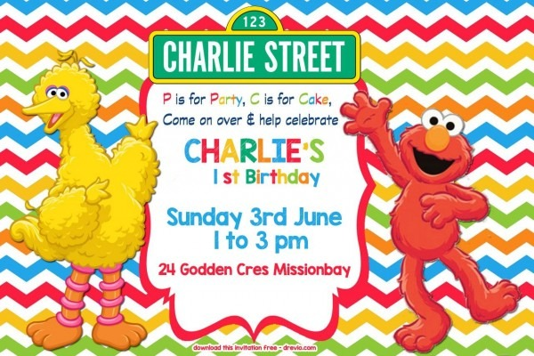 Free Sesame Street Colorful Chevron Invitation