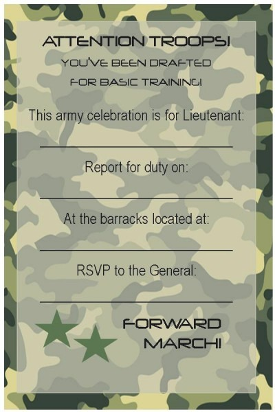 Free Army Birthday Invitation Template
