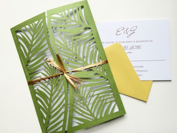 Laser Cut Palm Leaf Tree Wedding Invitation Gatefold Style, Green