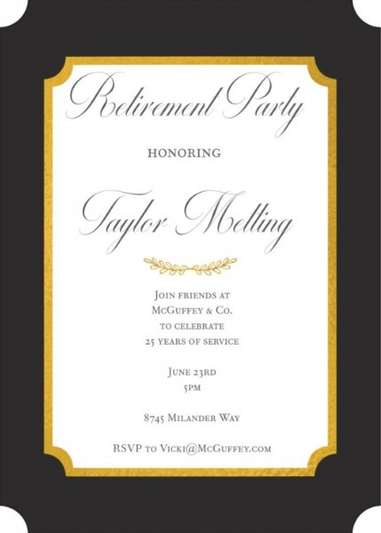 Black And Foil Retirement Invitations For A Formal Retirement