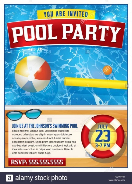A Template For A Pool Party Invitation  Vector Eps 10 Available