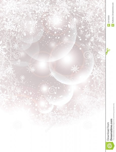 Abstract Winter Background With Transparent Balls, Stock Vector