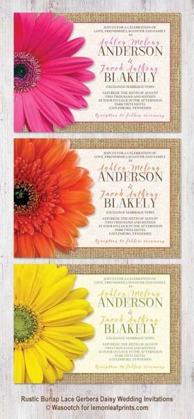 Rustic Burlap, Lace And Gerbera Daisy Wedding Invitations