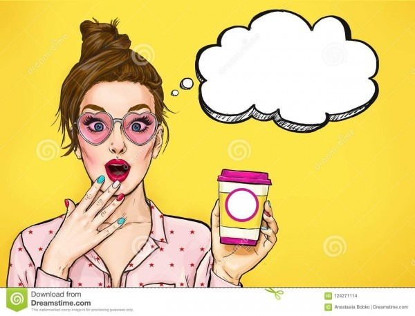 Amazed Pop Art Woman With Coffee Cup  Advertising Poster Or Party