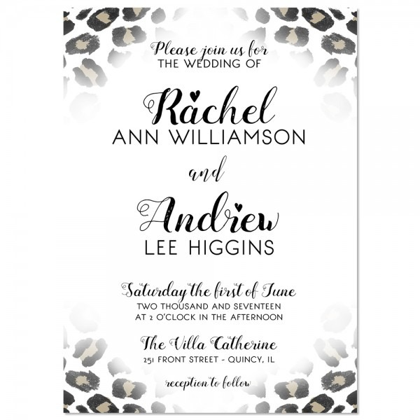 Animal Print Wedding Invitations Leopard Print Wedding Invitation