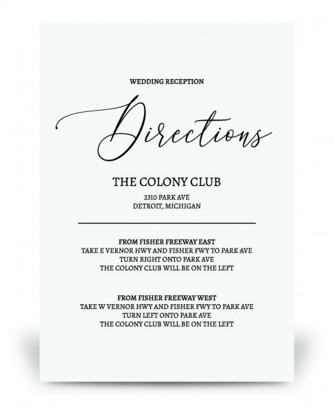 Wedding Directions Card