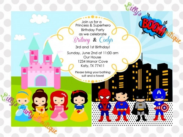 Beautiful Princess Superhero Birthday Party Invitations Invitation