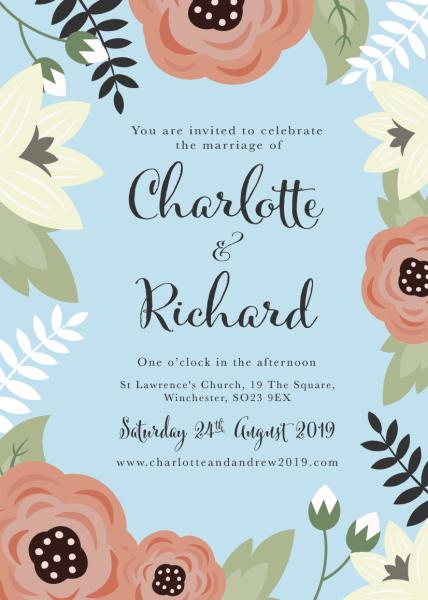 Dark Wedding Invitation Set With Vibrant Flower Border