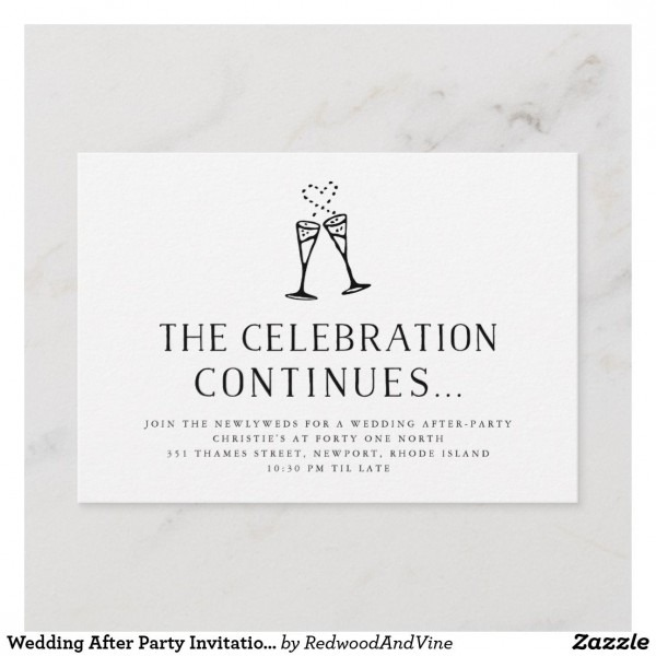 Wedding After Party Invitation Insert Card