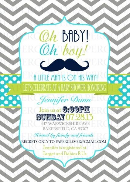 Baby Shower  Baby Shower Mustache  Mustache Invitations Baby