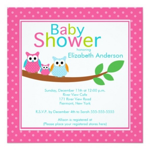 Baby Shower Invitation For Mom And Dad Mom Dad Owls With Baby Owl