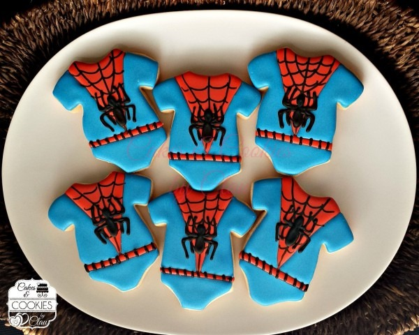 Baby Shower Spiderman Onesies Cookies Www Cakesandcookiesbyclau