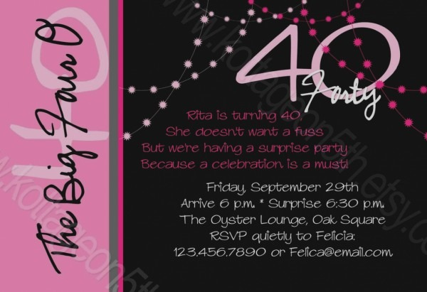 New Of 40 Birthday Party Invitation Wording Printable Forty Rocks