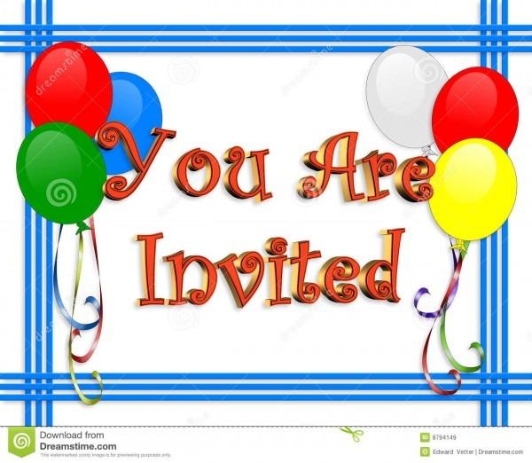 Birthday Invitation Balloons Border Stock Illustration