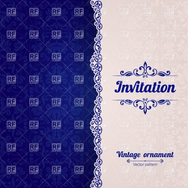 Blue Modern Invitation Card Template With Damask Ornament And