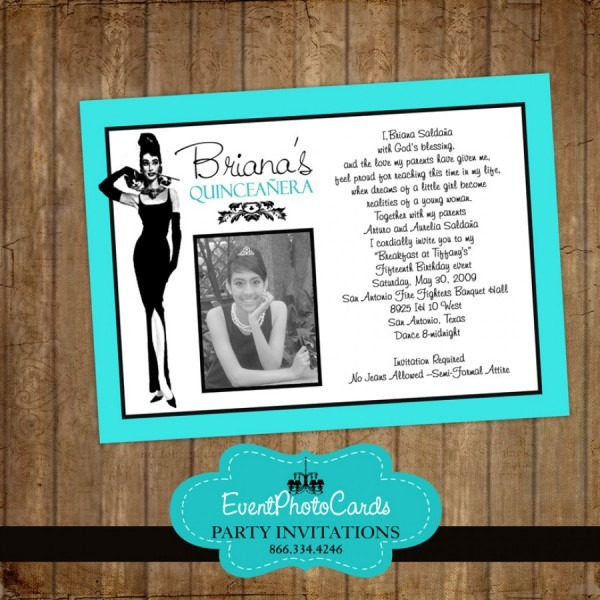Breakfast At Tiffany Teal Invitations Sweet 16 Invites, Quinceanera