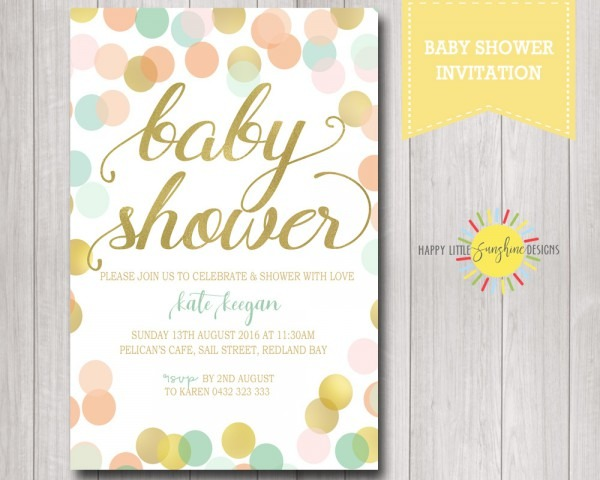 Baby Shower Invitation With Gold, Mint And Coral Round Circles