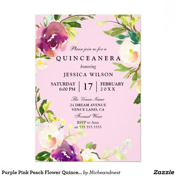 Purple Pink Peach Flower Quinceanera Invitation