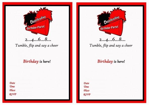 Cheerleading Birthday Invitations