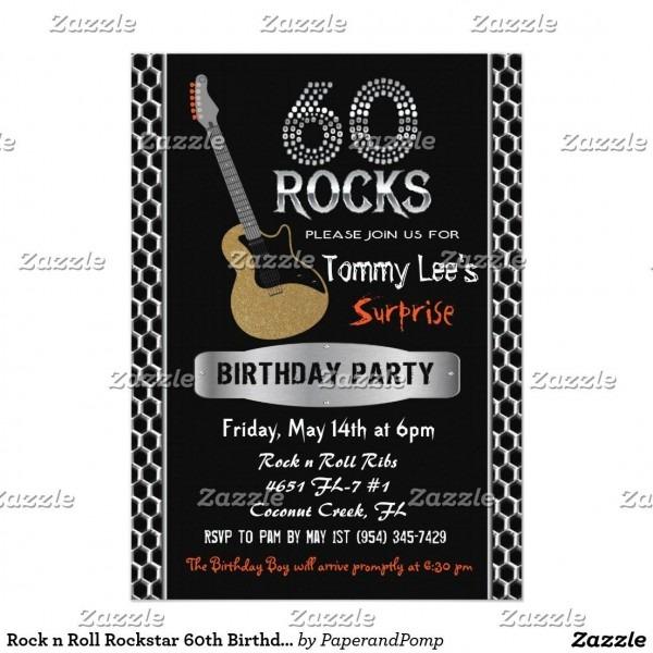 Rock N Roll Rockstar 60th Birthday Invitation