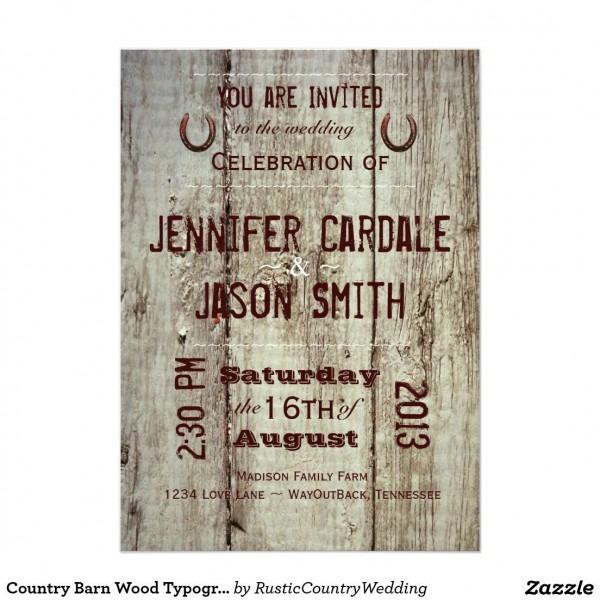 Country Barn Wood Typography Wedding Invitations