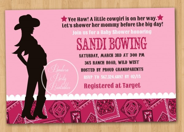 Modern Cowgirl Baby Shower Invitation Combined With Various Color