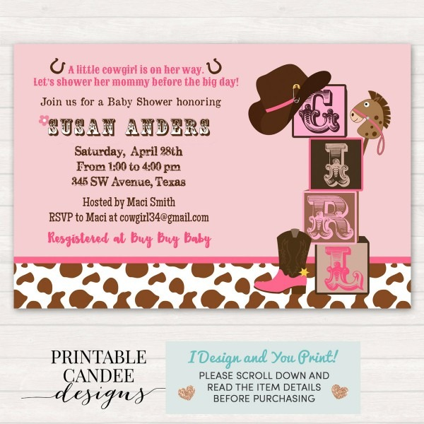 Baby Shower  Western Baby Shower Invitations  Western Themed Baby