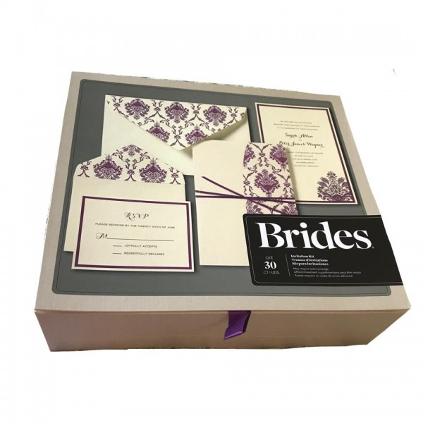 Cream And Purple Brides 30ct Invitation Kit