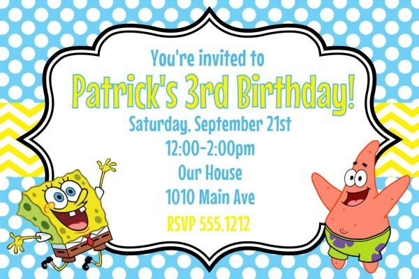 Create Your Own Spongebob Birthday Invitations From Festdude And