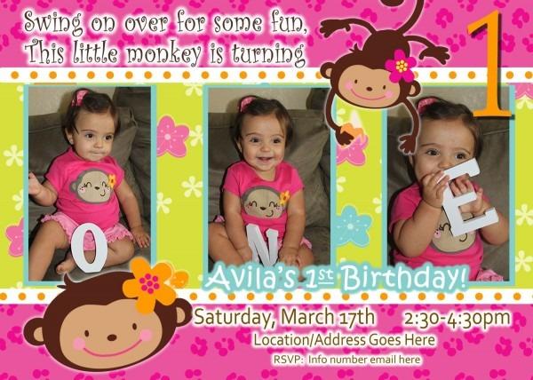 Monkey Invitation First Birthday Monkey Invitation Birthday Monkey