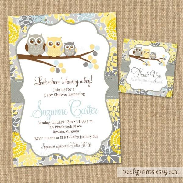 Owl Baby Boy Shower Invitation   Printable Baby Shower Invitation