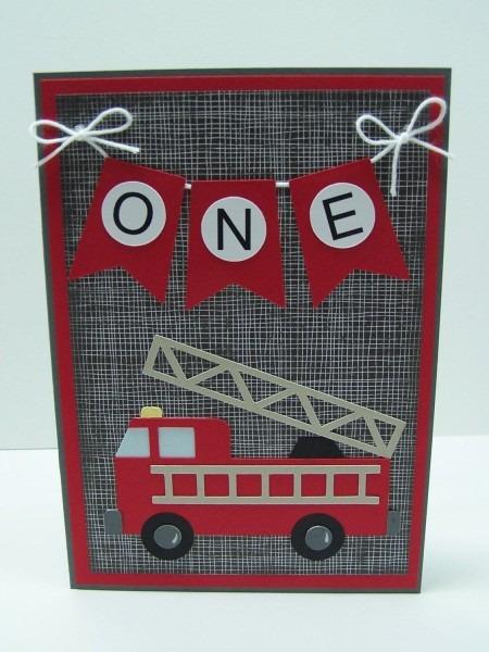 Handmade Birthday Card  Fire Truck Birthday Card, First Birthday