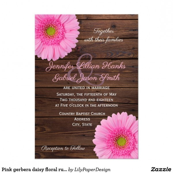 Pink Gerbera Daisy Floral Rustic Wood Wedding Invitation County