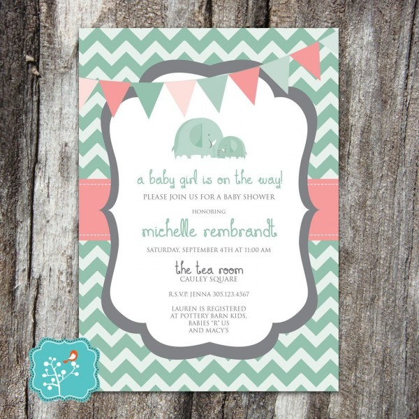 Baby Shower Invitation, Girl , Elephant, Pink, Coral, Teal, Mint
