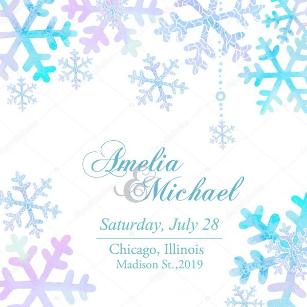 Invitation Background With Watercolor Snowflakes — Stock Vector