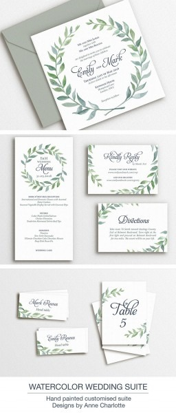 Printable Wedding Invitation Template Boho Watercolor Wreath