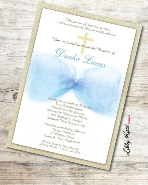 Boy Baptism Invitation Boy Christening Invitation Blue And Gold