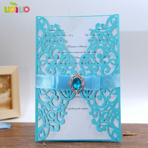 Diy 25set Free Customize Inc263 Sky Blue Laser Cut Wedding